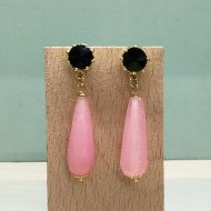 pendientes colgantes de fiesta con gota en piedras rosa cuarzo y negro