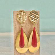 pendientes dorados con esmalte rojo coral largos para mujer de moda invitadas boda fiesta