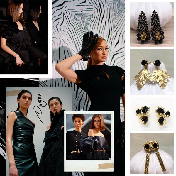 pendientes negros de moda con dorado para mujer invitada boda y fiesta
