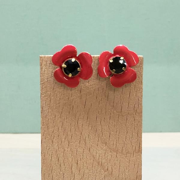 pendientes rojos sencillos pequeños y baratos con flores y esmalte con cristal negro
